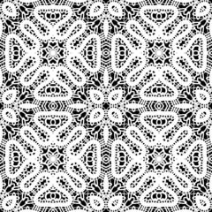 White lace on black background, seamless pattern