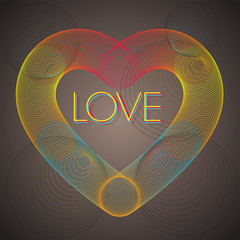Rainbow heart with love - vector background