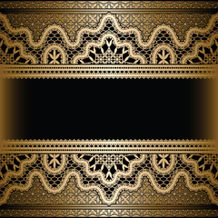 Gold lace on black, vintage background