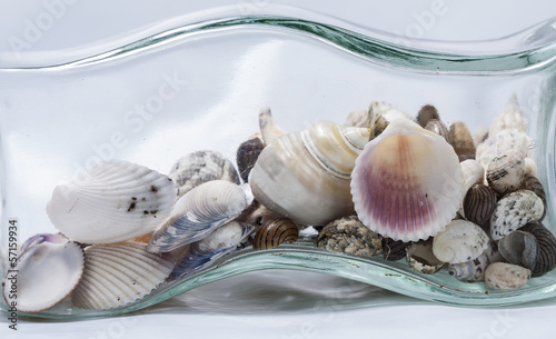 Glass bottle with some seashells