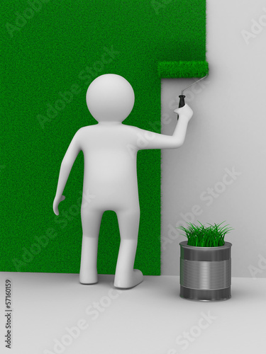 Man paints a wall with roller brush