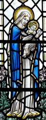 Jesus and Mary in stained glass