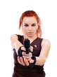 Woman holding a gun and aiming