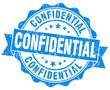 confidential blue grunge damaged  stamp