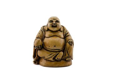 Carved stone Buddha holding coconut