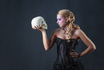 Girl in the role of Hamlet, studio shot