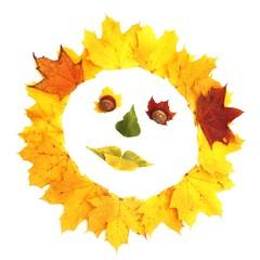 Gesicht aus bunten Blättern - Freisteller