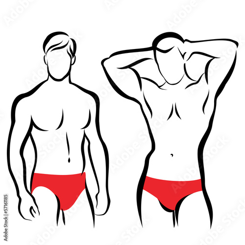 athletic men silhouettes, vector symbols collection