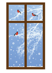 New Year illustration with bullfinches