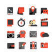 Flat design monochrome icons collection isolated on white
