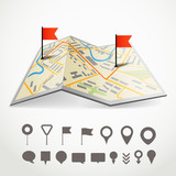 Folded abstract city map with the route and collection of differ