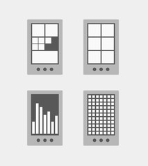 Modern smartphone tile interface template collection