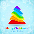 Rainbow colors stripes plastic Christmas tree