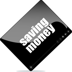 Video player for web with saving money word