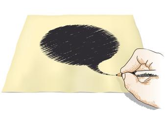 mano che disegna nuvola di fumetto