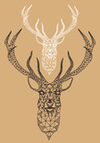 Christmas deer with geometric pattern, vector
