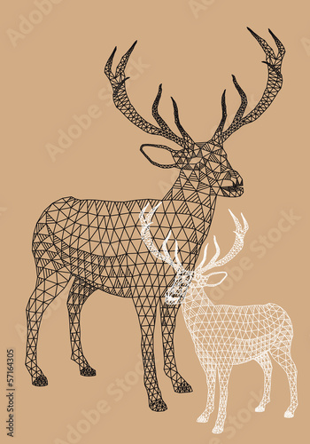 Christmas reindeer with geometric pattern, vector