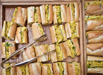 Coronation chicken baguettes