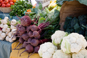Cauliflower , beets and Radishes at a local farmers market