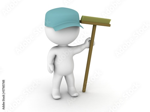 3D Man Janitor with cap and broom