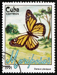 Postage stamp Cuba 1991 Monarch Butterfly, Butterfly