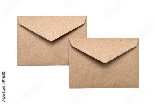 two brown envelope on a white background