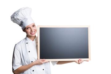 Köchin mit Kreidetafel