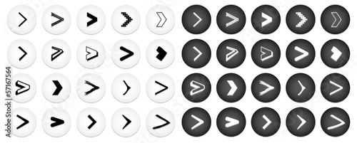 Big set of black and white isolated 'next' internet buttons