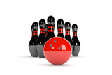 black skittles with red bowling ball