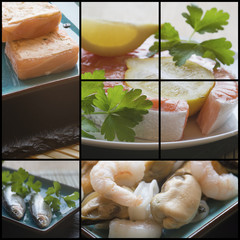 Compilation collage of fresh food with a theme