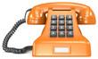 Telecommunication. Orange classic retro telephone. White label.