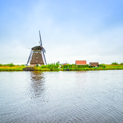 Windmill in Kinderdijk, Holland or Netherlands. Unesco site