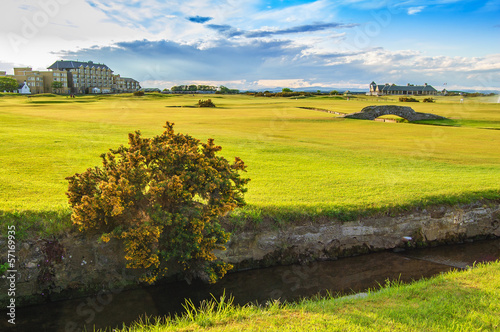 Golf St Andrews old course links. Bridge hole 18. Scotland.