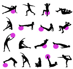 silhouettes of women doing pilates - vector