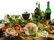 Leinwanddruck Bild - Weinprobe mit Pfälzer Wurstplatte