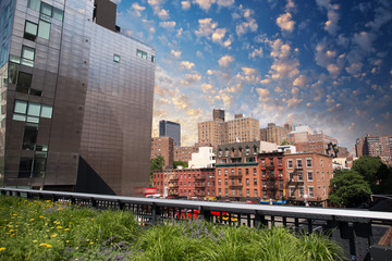 Beautiful view of Manhattan skyline as seen from High Line Park