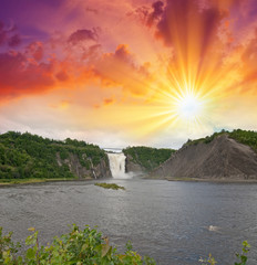Montmorency Falls, Quebec. Beautiful Canadian landscape at sunse