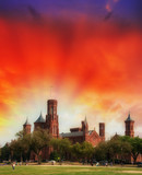 Scenic view of the Smithsonian Castle, landmark on the Mall, Was