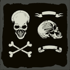 skull and crossbones, gunge background, pirate, heavy metal