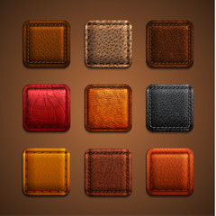 Leather app icons set - eps10