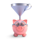 Piggy bank funnel. Clipping path included.