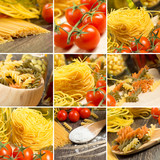 pasta and cherry tomatoes, collage
