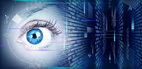Eye on technology background.
