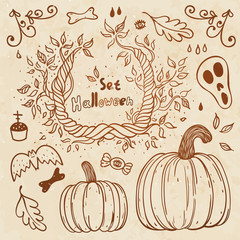Hallowen hand-drawn set. Autumn template.