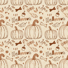 Hallowen hand-drawn seamless pattern.