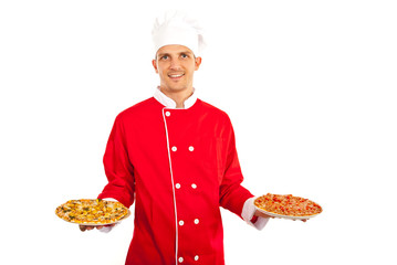 Chef man holding pizza