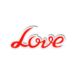 Vector illustration of love text label
