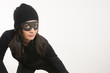 Masked Woman Sneaking Lurking Around Halloween Costume