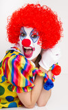 Clown Yelling Close Up Portrait Bright Beautiful Female Perform