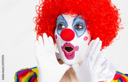 Clown Yelling Extreme Close Up Bright Beautiful Female Performer